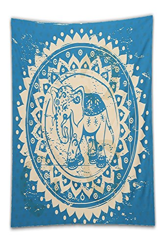 Beshowereb Fleece Throw Blanket Modern Yoga Mat Decoration for Apartment Dorm Bedroom Living Room Square Beach Towel Medium Size TapestriecmXcm (classical elephant).jpg