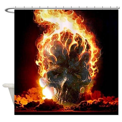 Shower Curtain Flaming Skull