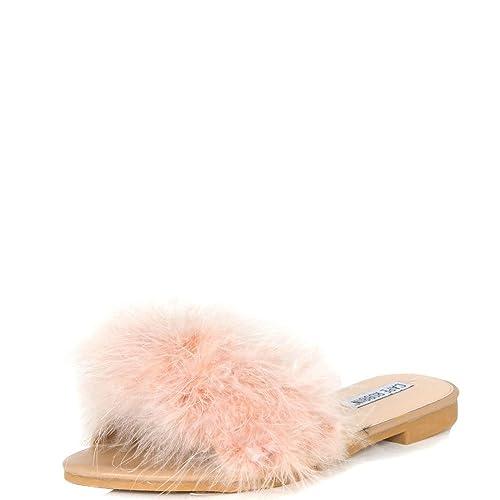 1db1cf2ac324 CAPE ROBBIN Sandals-1 Nude Women Flip Flop Fur Slide Slip On Flats Sandals  Shoes