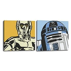 RuidoRosa Juego de Dos Cuadros Star Wars 25x25 cms, impresión sobre Lienzo R2D2 y C3PO 10
