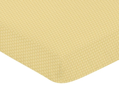 Sweet Jojo Designs Fitted Crib Sheet for Bumble Bee Baby/Toddler Bedding Set Collection - Honeycomb Print