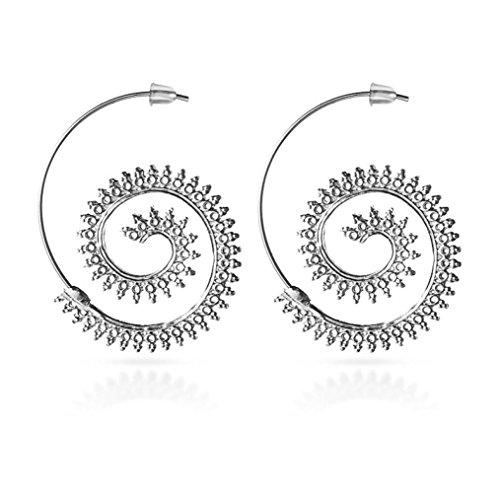 Cognac Quartz Earrings (Fheaven Best Party Gift Jewelry-Spiral Swirl Helix Vortex Post Stud Earrings for Women (silver))