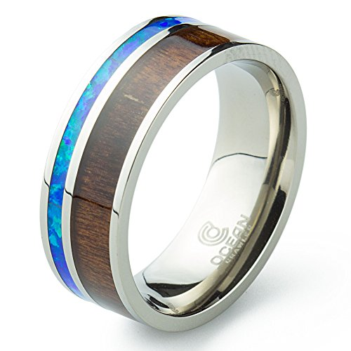 Titanium Ring Inlaid with 100% Natural Koa Wood and Genuine Mosaic Opal - 8mm Wide - Wedding, Engagement.