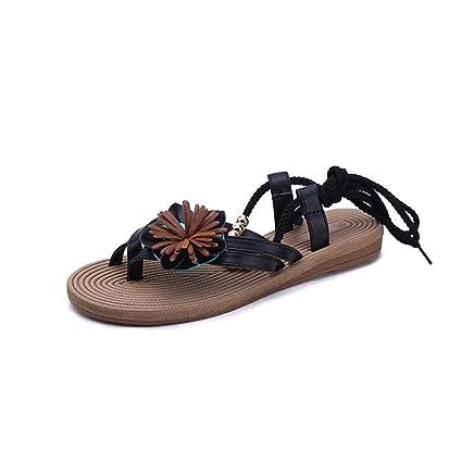 667df8f1b93230 Anxinke Women Summer Clip Toe Strappy Beach Shoes Ankle Wrap Flat Bohemian  Sandals (5 B
