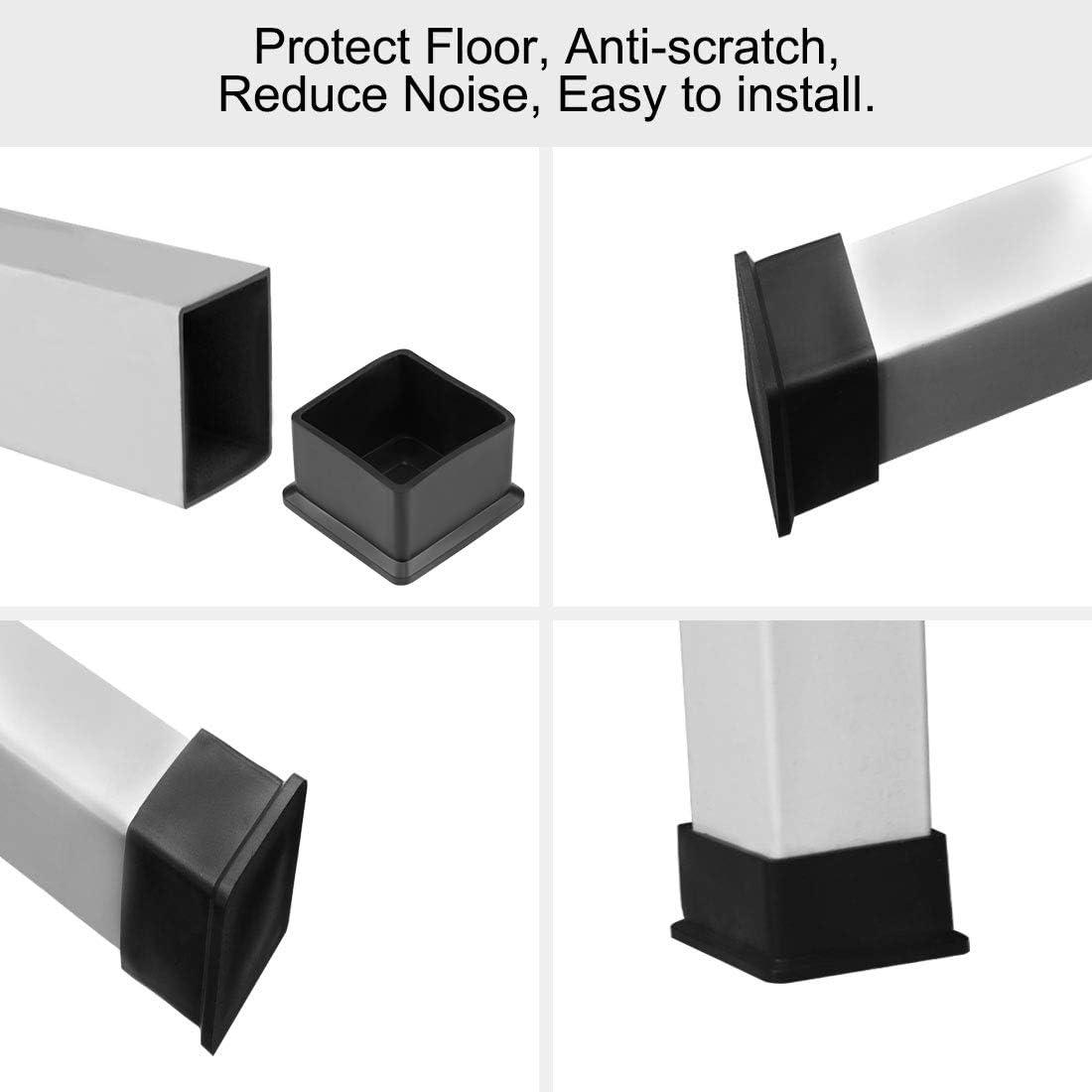 sourcing map Caoutchouc Capuchon 30mm x 30mm meubles Forme carr/ée Pieds chaise table Couvertures 4Pcs
