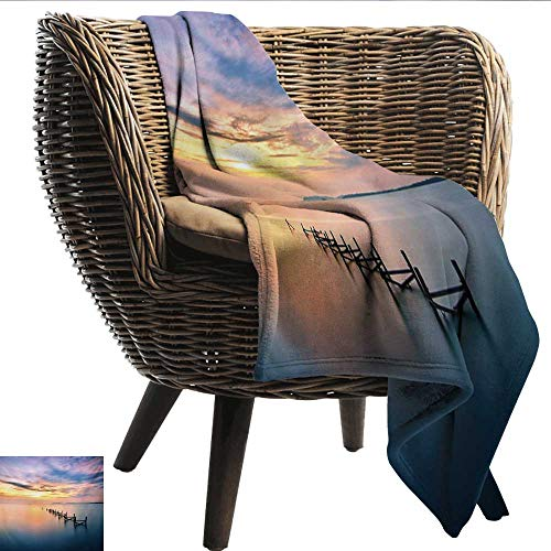 Nature Travel Blanket Sunset at Abandoned Jetty with Smooth Water and Nice Sky Digital Image Recliner Throw,Couch Throw, Couch wrap 72