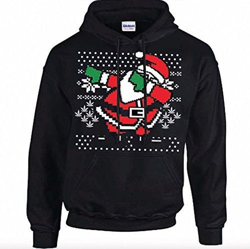 Dabbing Santa Christmas Men's Black Hoodie (Medium) (Santa Hoodie)
