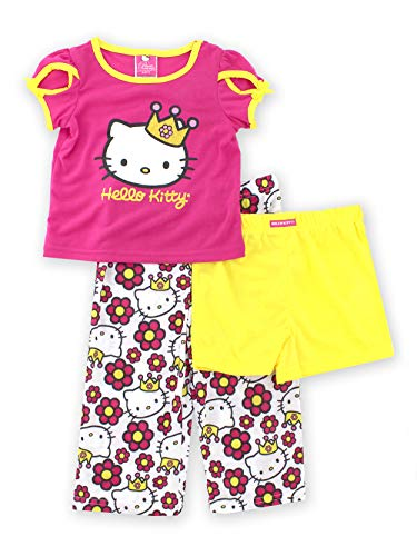Princess Hello Kitty Girls Pink 3 pc Pajamas Set (8) -