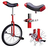 20'' Inch Chrome Wheel Unicycle Leakproof Butyl Tire Wheel Cycling Outdoor Sports Fitness Exercise RED