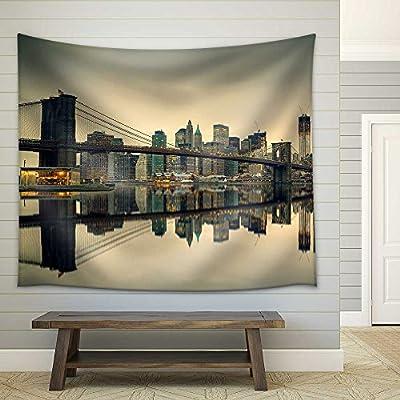 Classic Design, Delightful Piece of Art, Brooklyn Bridge and Manhattan at Dusk New York City Fabric Wall