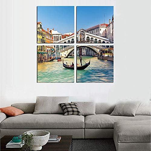 抽象絵画 アートパネル アートフレーム リアルト橋ベネチア大運河旅行先で晴れた日の街並み 40x40cm ヴェネツィア フレームポスター 壁絵谷HD しゃしん 木枠付きのモダン 新築飾り