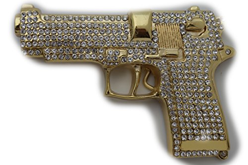 TFJ Men's Fashion Belt Buckle Gold Metal Gun Handgun Silver Rhinestones Iced Out (Out Buckle Iced Belt)