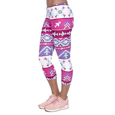Pantalones De Yoga Mujer Verano Pink Leggings Boho Mujeres ...
