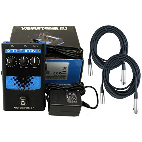 TC Helicon C1 Pitch-correction Effects Pedal w/Power Supply and 2 20' XLR Mic Cables by TC Electronic