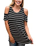 Twippo Cold Shoulder Shirts for Women Tunic Stripe Tops Casual Blouse Black XL