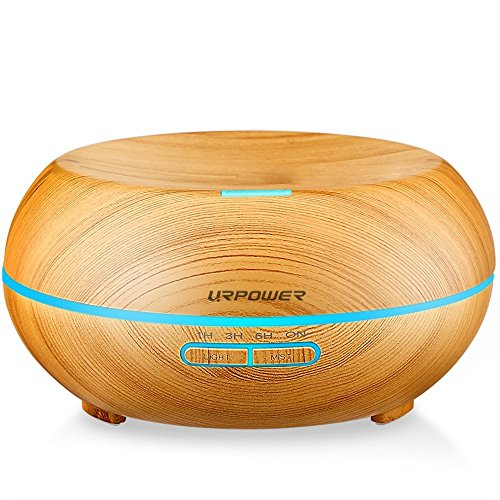 URPOWER 200ml Aromatherapy Essential Oil Diffuser Humidifier with 7 Color LED Lights and Waterless Auto Shut-off- Wood Grain Image