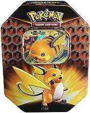 Pokemon TCG: SM11.5 Hidden Fates Gx Tin- Raichu + 1 of 3 Foil Pokémon-GX Cards + 4 Booster Pack