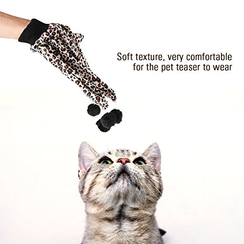 new Cat Glove Toy, 2 Pcs Plush Leopard Print Pet Cat Scratch Gloves Funny Ball Toys