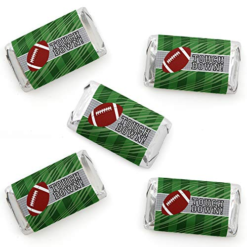 End Zone - Football - Mini Candy Bar Wrapper Stickers - Baby Shower or Birthday Party Small Favors - 40 Count ()