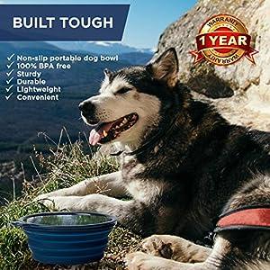Bonza Tazón Comedero Plegable grande para perros medianos y grandes, Portable Comedero o bebedero. Ligero, resistente, a prueba de fugas, alimentos seguros. Comedero para viajes con mascotas de