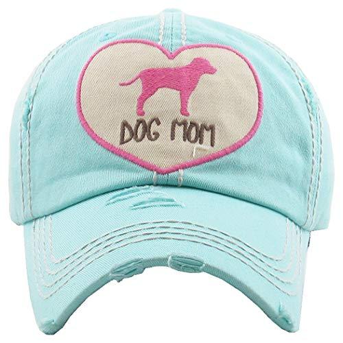 - H-212-DMH54 Distressed Baseball Cap Vintage Dad Hat - Dog Mom Heart (Mint)