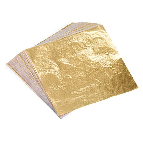 bememo-100-sheets-imitation-gold-leaf-for-arts-gilding-crafting-decoration-55-by-55-inches