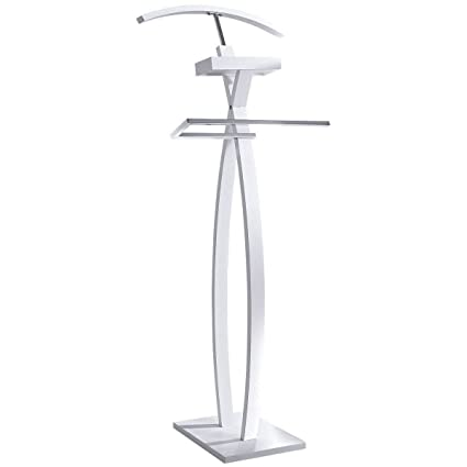 Pureday Modern Valet Stand Wood Metal White Chrome 116 cm: Amazon.co ...
