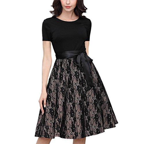 YAANCUN Elegante Vestidos de Encaje para Mujeres Manga Corta Cuello Redondo Empalme Vestido Cinturón para Cóctel Negro