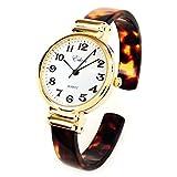 Tortoise Gold Acrylic Band Slim Case Women's Bangle Cuff Watch