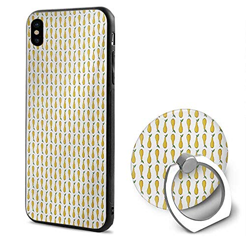 Pear iPhone x Cases,Pattern with Little Graphic Pears Up and Down Fresh Juicy Fruit Pale Earth Yellow Green White,Mobile Phone Shell Ring Bracket