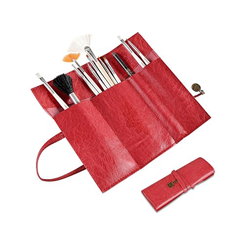 Simply Silver - Vintage Roll Up Leather Makeup Cosmetic Pencil Case Bag Brush Holder + (Trina Pencil Holder)