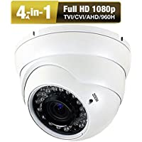 Amview HD Ture HD1080P 2.6MP 4-in-1 (TVI AHD CVI 960H) 2.8-12mm Varifocal Zoom 36IR LEDs CCTV Surveillance Security Camera