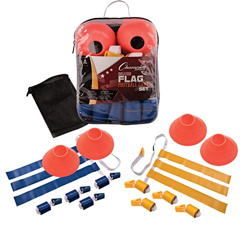 Champion Sports Deluxe Flag Football Game Set Flag Football Equipment - Game Sets with 5 Blue Flag Football Belts, 5 Yellow Flag Football Belts, 4 Orange Disc Cones and Mesh Carrying Bag