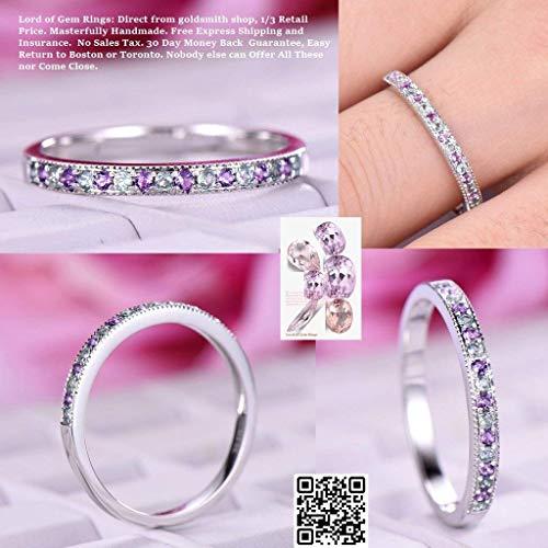 Amethyst Alexandrite Wedding Band Milgrain Half Eternity Ring 14K White Gold ()