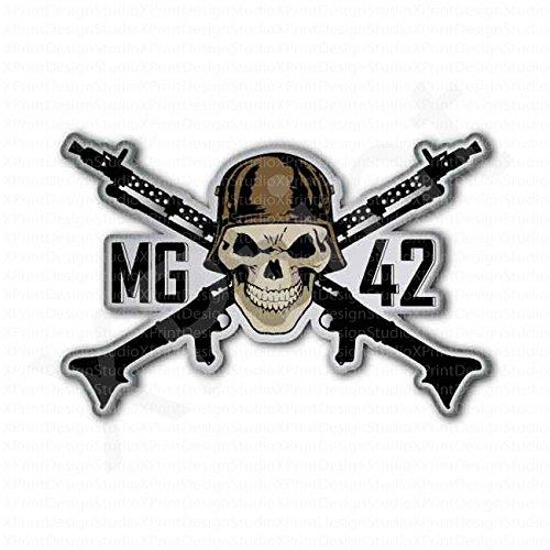 German MG42 Gun Skull Inside Sticker