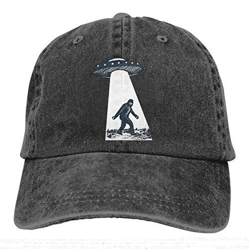 - UFO Creative Printed Unisex Adjustable Baseball Cap Washed Dyed Cotton Sun Hat Black