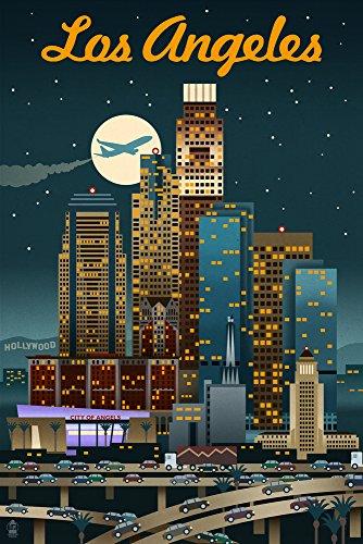 (Los Angeles, California - Retro Skyline (12x18 Art Print, Wall Decor Travel Poster))