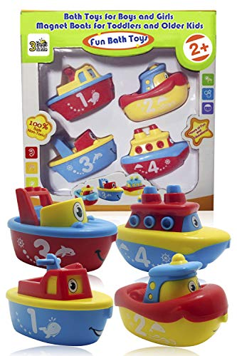 (3 Bees & Me Bath Toys for Boys and Girls - Magnet Boat Set for Toddlers & Kids - Fun & Educational)