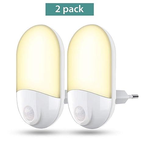 Luces de noche LED Enchufe en la pared, 30 lúmenes Luz de noche brillante con sensor ...