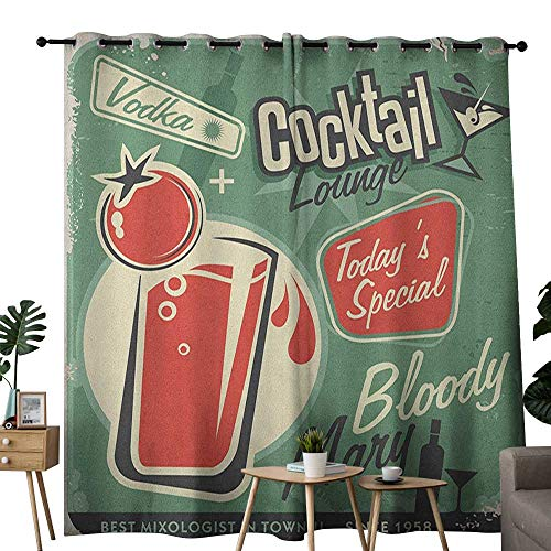 Drink Vodka Energy - NUOMANAN Pattern Curtains Retro,Nostalgic Poster Bar Art for Todays Special Famous Cocktail Bloody Drink and Vodka, Green Red,Living Room and Bedroom Multicolor Printed Curtain Sets 52