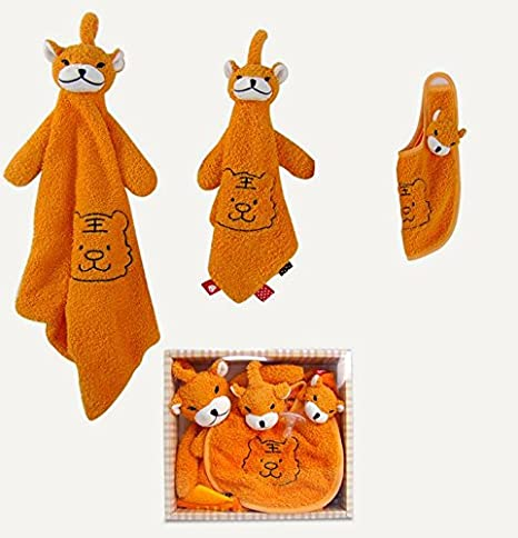Sun Glower Baby Comforter Toys Toalla de Algodón Toalla de Mano Suave Plush Cute Tiger Toy 3 Piezas / Set_Orange: Amazon.es: Juguetes y juegos