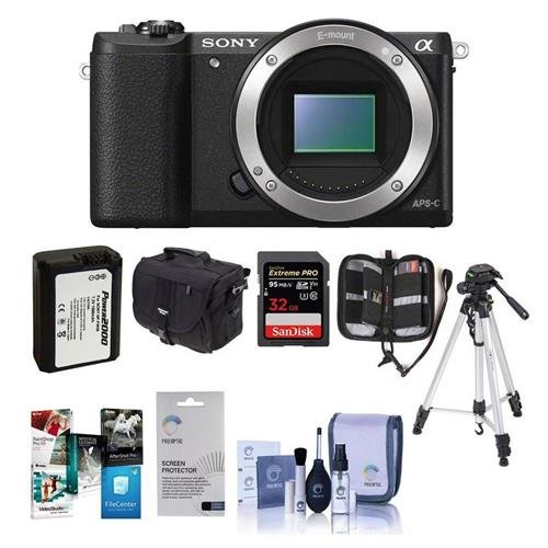 Sony Alpha A5100 Mirrorless Digital Camera Body, - Bundle wi