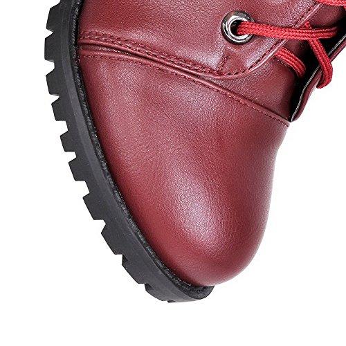 Allhqfashion Stiefel Toe Closed Schnürschuh Damen Sortierte Runde PU Heels Kätzchen Farbe qTPSwaqp7