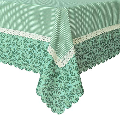 (Wewoch Decorative Green Mesh Print Lace Water Resistant Tablecloth Wrinkle Free and Stain Resistant Fabric Tablecloths for Dining Room 60 Inch by 104 Inch)