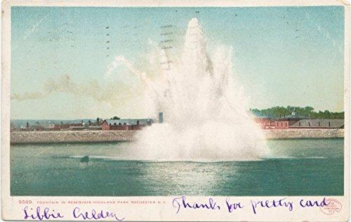 (Historic Pictoric Postcard Print   Highland Park, Fountain in Reservoir, Rochester, N. Y, 1898   Vintage Fine Art)