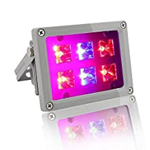 12W Waterproof LED Grow Flood Light Lamp for Indoor outdoor Garden Greenhouse Hydroponic Plants, Hanging Flood light Kit with US plug, Growing Light with 6 LEDS (4 Red & 2 Blue)