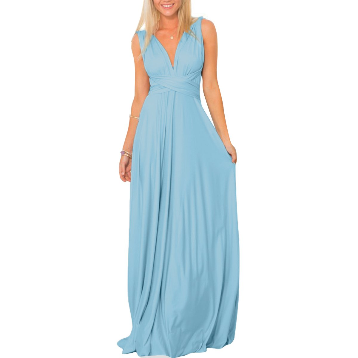 Women's Transformer Convertible Multi Way Wrap Long Prom Maxi Dress V-Neck Hight Low Wedding Bridesmaid Evening Party Grecian Dresses Boho Backless Halter Formal Cocktail Dance Gown Light Blue X-Large by IWEMEK