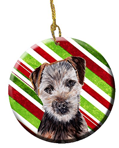 (Caroline's Treasures SC9807CO1 Norfolk Terrier Puppy Candy Cane Christmas Ceramic Ornament, 3 in, Multicolor)