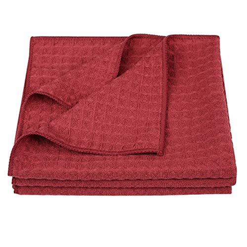 hick Waffle Weave Kitchen Towels Dish Cloth 3 Pack 16inch X 19inch Red ()