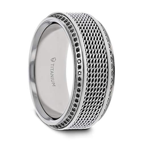 Thorsten Rings Gauntlet Steel Chain Titanium Wedding Ring Polished Beveled Edges Set with Round Black Diamonds - 10 mm (13)